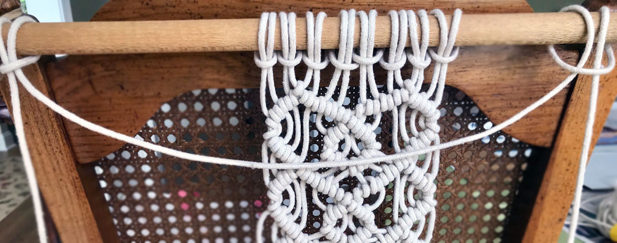 macrame two layer wall hanging